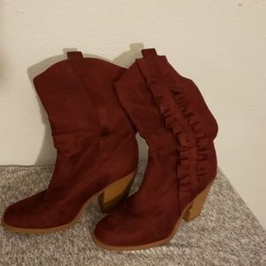 Maroon Vegan Leather boots